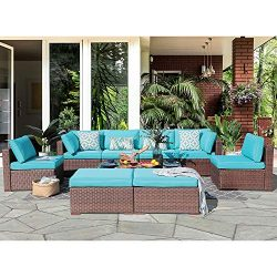 10 Piece Outdoor Furniture Sectional Sofa Set Rattan Wicker Patio Conversation Set with Seat and ...