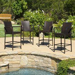 Stewart   Outdoor Wicker Barstool   Set of 4   in Brown