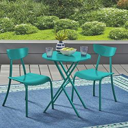 Great Deal Furniture Lucy Outdoor Bistro Set, Matte Teal