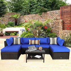 Outdoor Rattan Couch Wicker 7PCS Sectional Conversation Sofa Set Lawn Garden Patio Furniture Set ...