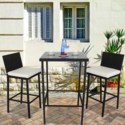Leaptime Outside Rattan Bar Table and Stools Set Patio Garden Wicker Bar Bistro Set Black PE Rat ...