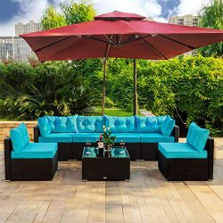 Amooly 7 Pieces Patio PE Rattan Sofa Set Outdoor Sectional Furniture Wicker Chair Conversation S ...