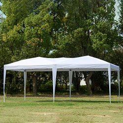CharaHome 10 x 20 Canopy Tent Pop Up Portable Shade Instant Heavy Duty Outdoor Gazebo White Cano ...