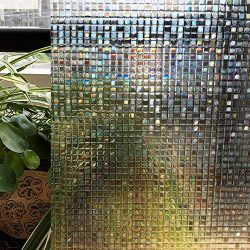 Zoostliss Mosaic 3D Window Films Privacy Film Static Decorative Film Non-Adhesive Heat Control A ...