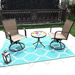 MF STUDIO 3 Piece Swivel Chairs Bistro Stools Sets with All Weather Steel Frame Patio Bistro Set ...