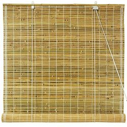 Oriental Furniture Burnt Bamboo Roll Up Blinds – Natural – (60 in. x 72 in.)(B)