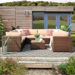 Patiorama 9 Piece Outdoor Patio Furniture Set, All Weather Wicker Patio Sectional Sofa Set with  ...