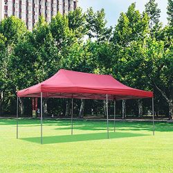 DOIT 10ft x 20ft Pop Up Canopy Tent Gazebo for Party or Camping,Portable Wheeled Carrying Bag,Red