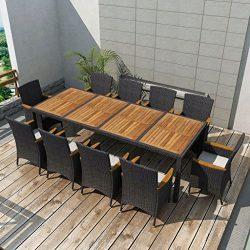 Festnight Outdoor Dining Set, 11 Piece Wicker Patio Garden Furniture Set for Pool, Terrace, Comf ...