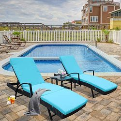 Patio Lounge Chair Pool Sunbed Rattan Chaise with Armrest 5 Position Adjustable Black PE Wicker  ...