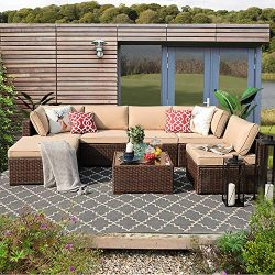 Patiorama 7PC Outdoor Patio Furniture Set All Weather Wicker Patio Sectional Sofa Set with Corne ...
