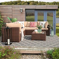 PATIORAMA 6 Piece Outdoor Patio Furniture Set, All Weather Wicker Patio Sectional Sofa Set with  ...
