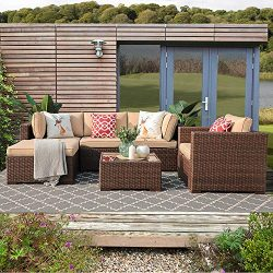Patiorama 6 Piece Outdoor Conversation Set, All Weather Wicker Patio Sectional Sofa Set with Cor ...