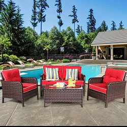 Tangkula 4 PCS Patio Furniture Set, Outdoor Rattan Wicker Sofa Comfortable Cushioned Seat, Garde ...