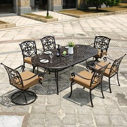 DOMI OUTDOOR LIVING Aluminum 7-Piece Patio Dining Set 84″ x 42″ Oval Table Garden Fu ...