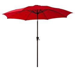 FLAME&SHADE 10′ Patio Market Umbrella for Outdoor Table Balcony Outside Terrace Deck Y ...