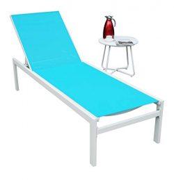 Kozyard Modern Full Flat Alumium Patio Reclinging Adustable Chaise Lounge with Sunbathing Textil ...