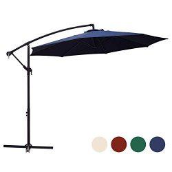 KINGYES 10ft Patio Offset Cantilever Umbrella Market Umbrellas Outdoor Umbrella with Crank & ...