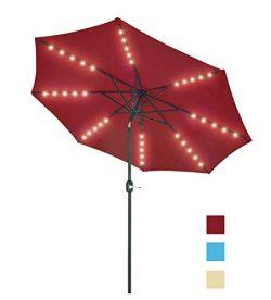 Patio Watcher 9 Feet Solar Umbrella 40 LED Lighted Patio Umbrella Outdoor Umbrella Market Table  ...