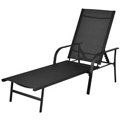 Giantex Lounge Chair Pool Chaise Patio Furniture Outdoor Textilene Recliner with Adjustable Back
