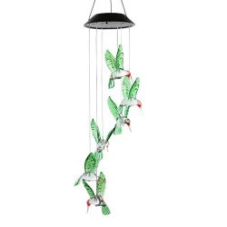 GJK-SION Solar Power Wind Chime Lamp – Waterproof Spiral Spinner Hummingbird Shape LED Col ...