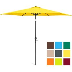 Best Choice Products 10ft Outdoor Steel Market Backyard Garden Patio Umbrella w/Crank, Easy Push ...