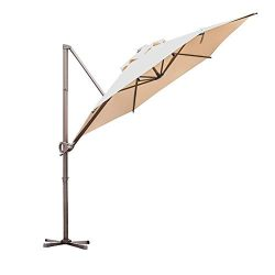 Abba Patio Offset Cantilever 9-Feet Outdoor Patio Hanging Umbrella with Cross Base, Beige