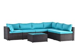 Gotland 7pcs Outdoor Sectional Sofa Patio Furniture Cushion Cover Set,Only Covers(Blue) -Incl.6  ...