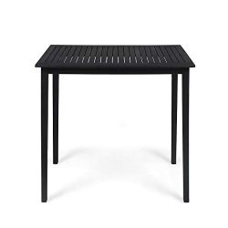 Great Deal Furniture 309014 Teresa Outdoor Minimalist Acacia Wood Rectangle Bar Table-Dark Gray