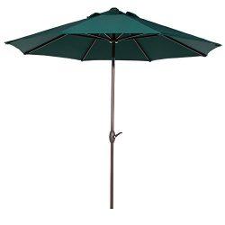 Abba Patio Market Outdoor Table Umbrella with Auto Tilt and Crank, 9 Feet, Dark Green