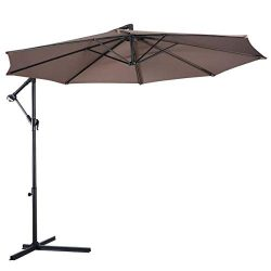 Tangkula Patio Umbrella 10ft Outdoor Sun Shade Umbrella Hanging Offset Crank W/Corss Base 8 Rips ...