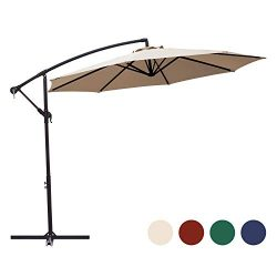 KINGYES 10ft Patio Offset Cantilever Umbrella Market Umbrellas Outdoor Umbrella with Crank & ...