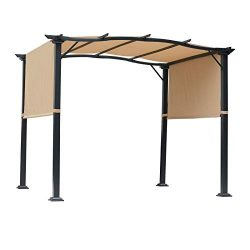 Outsunny 16.5′ Steel Frame Polyester Fabric Gazebo with Retractable Canopy Shade Awning