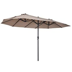 Outsunny 15′ Steel Rectangular Outdoor Double Sided Market Patio Umbrella – Tan