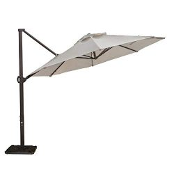 Abba Patio 11 Ft Offset Patio Umbrella with Crank Lift and Tilt and Cross Base, 11′, Beige