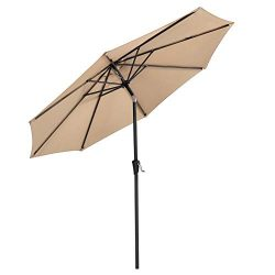 SONGMICS 9 ft Patio Umbrella, Outdoor Table Umbrella, Sun Shade, Octagonal Polyester Canopy, wit ...