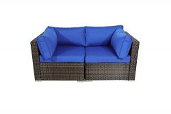 Outdoor Brown Rattan Wicker Sofa Set Garden Patio Furniture Cushioned Sectional Loveseat(Royal B ...