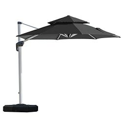 PURPLE LEAF 11 Feet Double Top Deluxe Patio Umbrella Offset Hanging Umbrella Outdoor Market Umbr ...