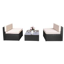 Aclumsy 3 Piece Outdoor Patio Furniture Sets PE Rattan Conversation Sofa Set Sectional Wicker Ch ...