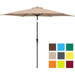 Best Choice Products 10ft Outdoor Steel Market Backyard Garden Patio Umbrella w/ Crank, Easy Pus ...