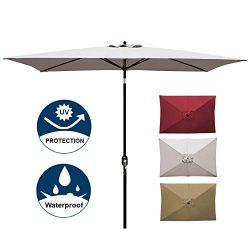 Blissun Rectangular Patio Umbrella Outdoor Market Table Umbrella with Push Button Tilt and Crank ...