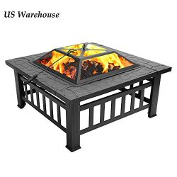 "Teekland 32"" Backyard Patio Garden Stove,Outdoor Fire Pit Table,Fire Pit Set,Wood Burning  ..."