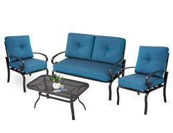 Incbruce Outdoor Patio Furniture Conversation Set Loveseat, 2 Chairs, Coffee Table with Cushion  ...