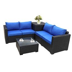 Outdoor PE Wicker Furniture Set 4 Piece Patio Black Rattan Sectional Loveseat Couch Set Conversa ...
