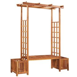 Festnight 6.5′ Wood Arbor Garden Pergola Trellis with Bench and Planter Acacia Wood Lattic ...