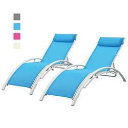 DOIT Outdoor Patio Lounge Chairs Set of 2,Patio Reclining Adjustable Chaise Lounge,Lounge Chairs ...