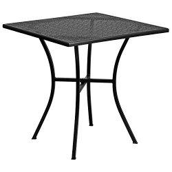 "Flash Furniture 28"" Square Black Indoor-Outdoor Steel Patio Table"