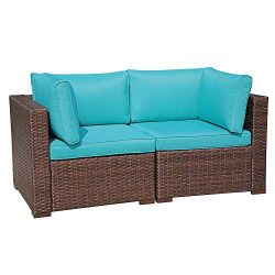 Outdoor Couch Corner Sofa Chair for Patio Sectional Furniture Set All-Weather Wicker Love Seat w ...