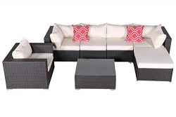 Do4U 7 Pieces Outdoor Patio PE Rattan Wicker Sofa Sectional Furniture Set Conversation Set- Beig ...
