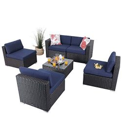 PHI VILLA 6-Piece Patio Furniture Set Rattan Sectional Sofa with Seat Cushions, Blue